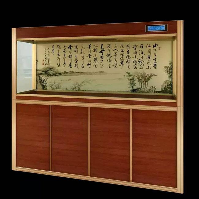 水墨文化背景鱼缸